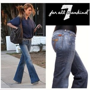 7 For All Mankind dojo gold 7 pocket flair jeans